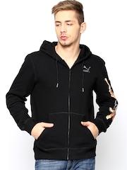 Puma Men Black Collab Zip Hooded Sweatshirt