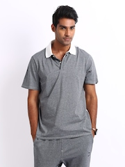 Puma Men Dark Grey Melange Polo T-shirt