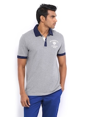 Puma Men Grey Melange Polo T-shirt