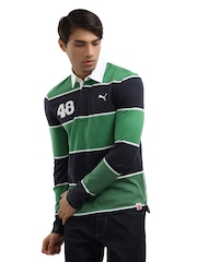 Puma Men Green & Navy Blue Striped Polo T-shirt