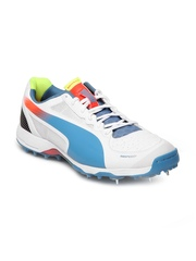 Puma Men White & Blue Evospeed Cricket Spike 1.2 Sports Shoes