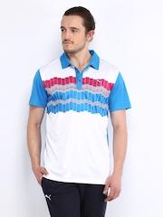 Puma Men White & Blue Printed Polo T-shirt