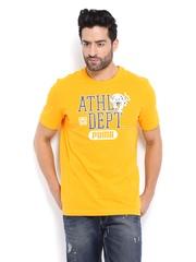 Puma Men Yellow Printed T-shirt