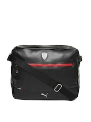 Puma Men Black Ferrari LS Reporter Messenger Bag