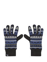 Puma Unisex Black Patterned Knit Gloves