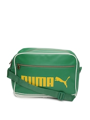 Puma Unisex Green Campus Reporter Messenger Bag