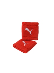 Puma Unisex Pack of 2 Red Wristbands