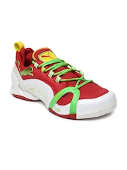 Puma Men White & Red Eliminate 1.1 Running Shoes