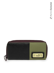 Puma Women Black & Olive Green Catch Wallet