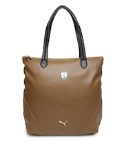 Puma Women Brown Ferrari LS Shopper Tote Bag