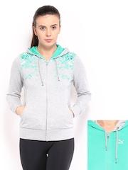 Puma Women Grey Melange & Green Hooded Reversible Jacket