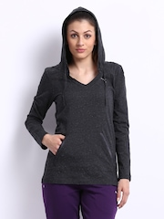 Puma Women Charcoal Grey Hooded Top