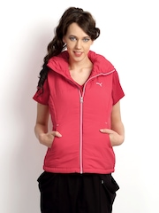 Puma Women Coral Pink Padded Sleeveless Jacket