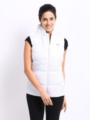 Puma Women White Padded Sleeveless Jacket