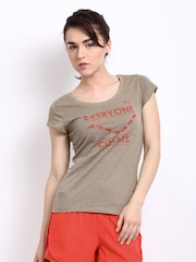 Puma Women Mushroom Brown Printed Unite Slogan T-shirt