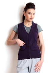 Puma Women Purple Knit Sleeveless Cardigan