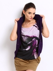 Puma Women Purple Sleeveless Cardigan