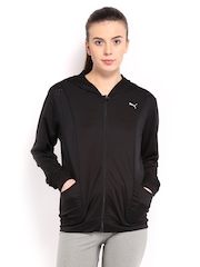 Puma Women Black Gym Loose Cover Up Hooded Jacket