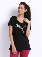 Puma Women Black Printed T-shirt