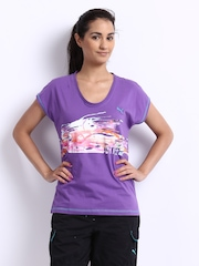 Puma Women Purple Printed T-shirt