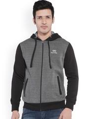 Men Grey & Black Hooded Jacket Pure Play