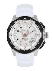 Q&Q Attractive Men Silver-Toned Dial Watch DA60J304Y