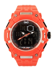 Q&Q Men Orange Analogue & Digital Watch