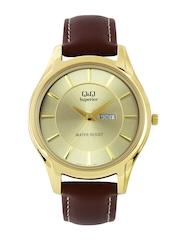 Q&Q Samurai Men Gold Toned Dial Watch