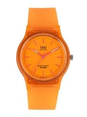 Q&Q Unisex Orange Toned Dial Watch