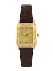 Q&Q Women Gold Toned Dial Watch