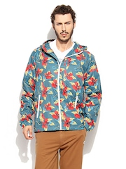 Quiksilver Men Green Printed Hooded Polar Jacket