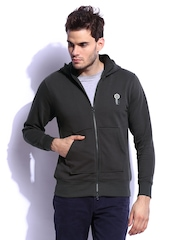 RDSTR Men Asphalt Grey Hand Drawn Graphic Printed Hooded Sweatshirt