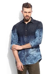 RDSTR Men Indigo Denim Antique Vintage Washed Shelby Slim Fit Casual Shirt