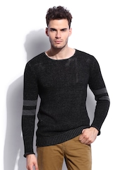 RDSTR Men Black Two Toned With Open Neck Sweater