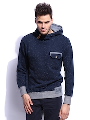 RDSTR Men Blue Sweatshirt with Chest Pocket and Button Opening on Hood