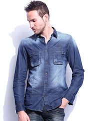 RDSTR Men Blue Saomi Slim Fit Denim Casual Shirt