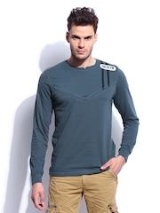 RDSTR Men Blue Mandarain Polo for Riding T-shirt