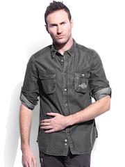 RDSTR Men Charcoal Grey Samuel Denim Special Stone Wash Slim Fit Casual Shirt