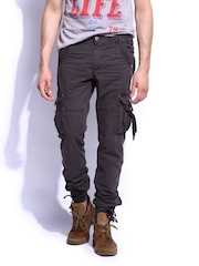 RDSTR Men Charcoal Grey Slim Fit Cargo Trousers