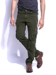 RDSTR Men Dark Green Slim Fit Cargo Trousers