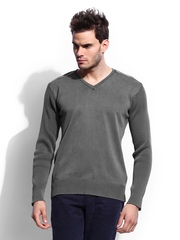 RDSTR Men Grey Overdyed Sweater