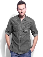 RDSTR Men Grey Slim Fit Denim Casual Shirt