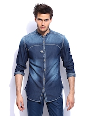 RDSTR Men Indigo Vintage Denim Colour Tinted Mandarin Collar Slim Fit Casual Shirt