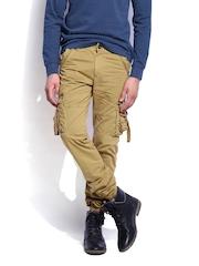 RDSTR Men Mustard Brown Slim Fit Cargo Trousers