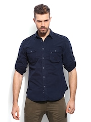 RDSTR Men Navy Antique Pigment Dyed Shelby Slim Fit Casual Shirt