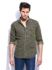 RDSTR Men Special Stone Washed Shelby Slim Fit Denim Casual Shirt