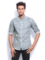RDSTR Men Asphalt Grey Rugged Pigment Washed Mandarin Collar Shelby Slim Fit Casual Shirt
