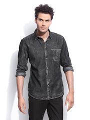 RDSTR Men Black Denim New Cloud Washed Shelby Slim Fit Casual Shirt