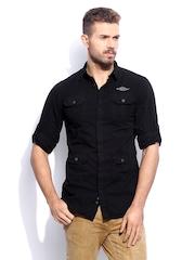 RDSTR Men Black Vintage Dyed Shelby Slim Fit Casual Shirt Jacket