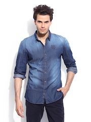 RDSTR by Roadster Men Blue Denim Vintage Colour Tinted Slim Fit Shirt